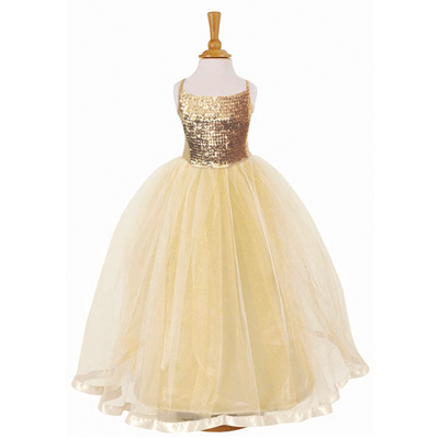 Gold Dress on Girls Gold Sequin Ballgown Bridesmaid Party Dress